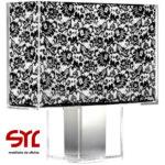 precio Lámpara de mesa rectangular Modelo TATÍ KARTELL blanco plisado encaje negro
