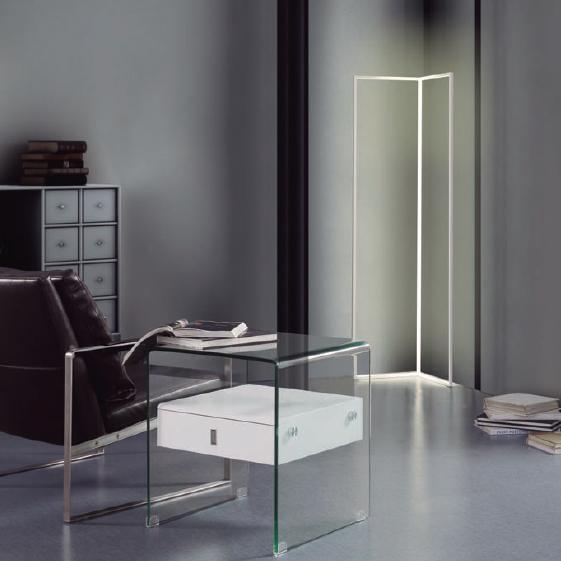 Mesita cristal transparente lacado blanco brillo ref-J-52