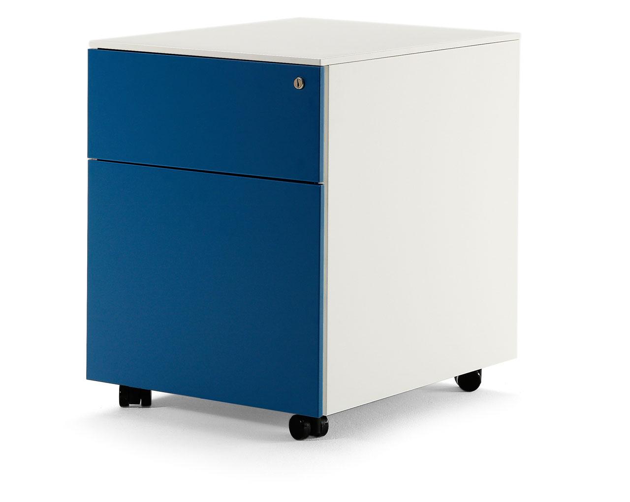 buc metálico de cajón y archivo azul en muebles syl