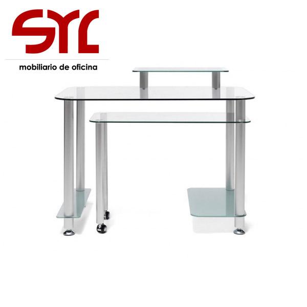 Mesa ordenador de cristal 100x60 a la venta muebles syl for Mesa ordenador cristal
