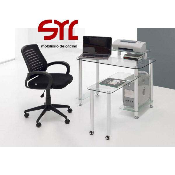 Mesa ordenador de cristal 100x60 a la venta muebles syl - Mesa ordenador cristal ...